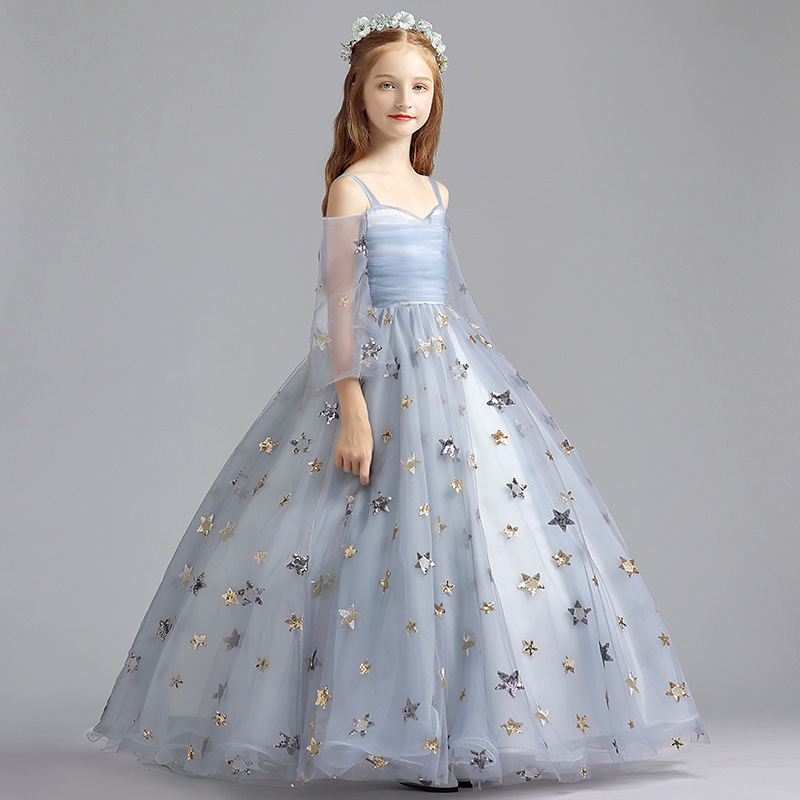 2019 Summer Children Evening Gown Princess Dress Girls Birthday Wedding Dress Small Host Model Catwalks Piano Costume
