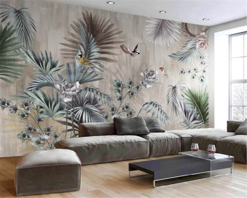 beibehang Custom wallpaper nordic plant leaves retro tv background wall murals home decoration living room bedroom 3d wallpaper image