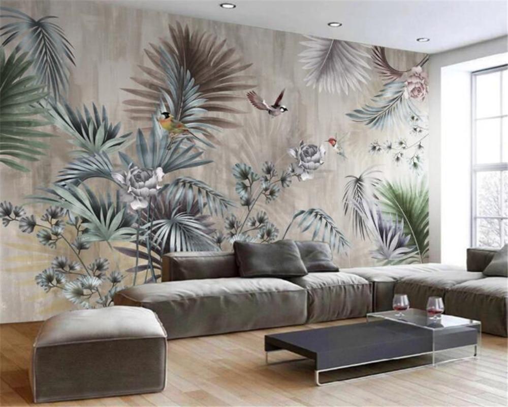 Beibehang Custom Wallpaper Nordic Plant Leaves Retro Tv Background Wall Murals Home Decoration Living Room Bedroom 3d Wallpaper
