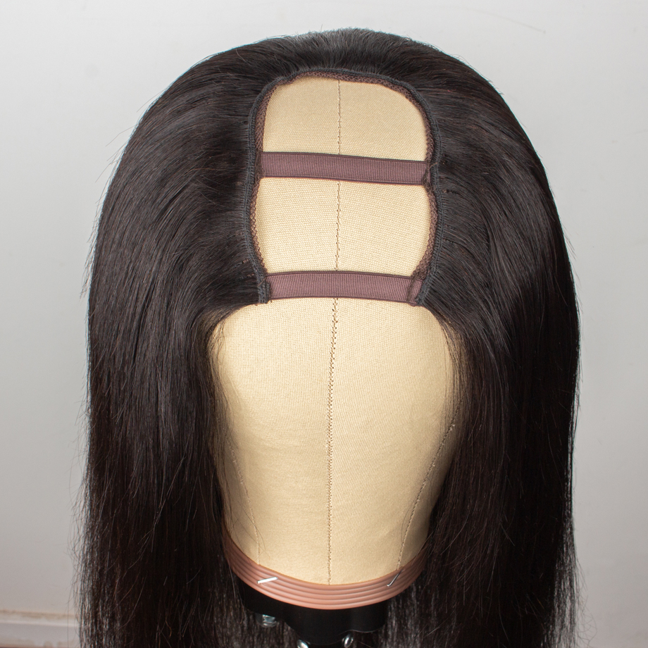 U Part Wig Straight Short Wigs Long  8inch-30inch For Black Women Pre Plucked Bleached Knots Brazilian Human Hair Middle Part