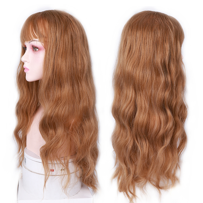 MUMUPI Long Mix Brown Womens Wigs With Bangs Water Wave Heat Resistant Synthetic Wigs For Women African American