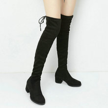 2020 Women Boots Square low Heel Over The Knee Boots Stretch Flock Thigh Boots Autumn Winter Fashion Stretch Knee High Boots
