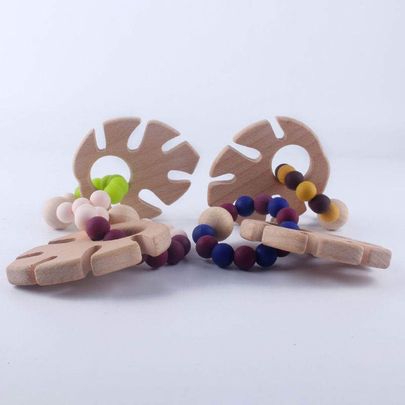 Silicone Beaded Newborn Infants Baby Teether Wooden Bracelets Teething Nursing Molar Toys Gift in Baby Teethers from Mother Kids