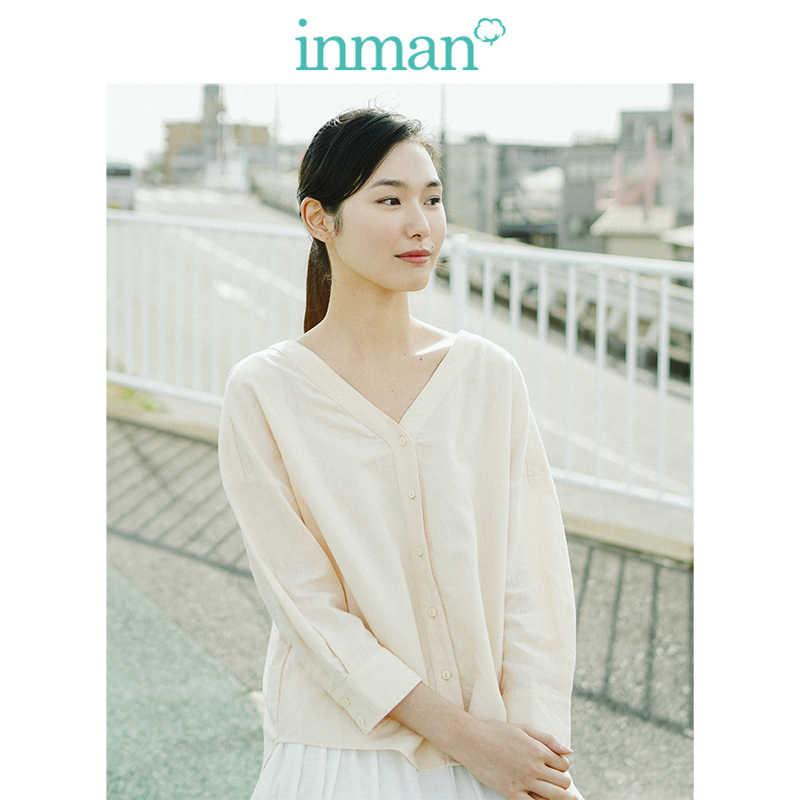 INMAN Jelas Linen Leher V Sastra Drop-Bahu Lengan Blus Wanita