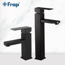 Frap torneira da bacia preto quadrado torneira pia do banheiro torneira do banheiro de aço inoxidável deck montado bacia misturadora y10170/-1