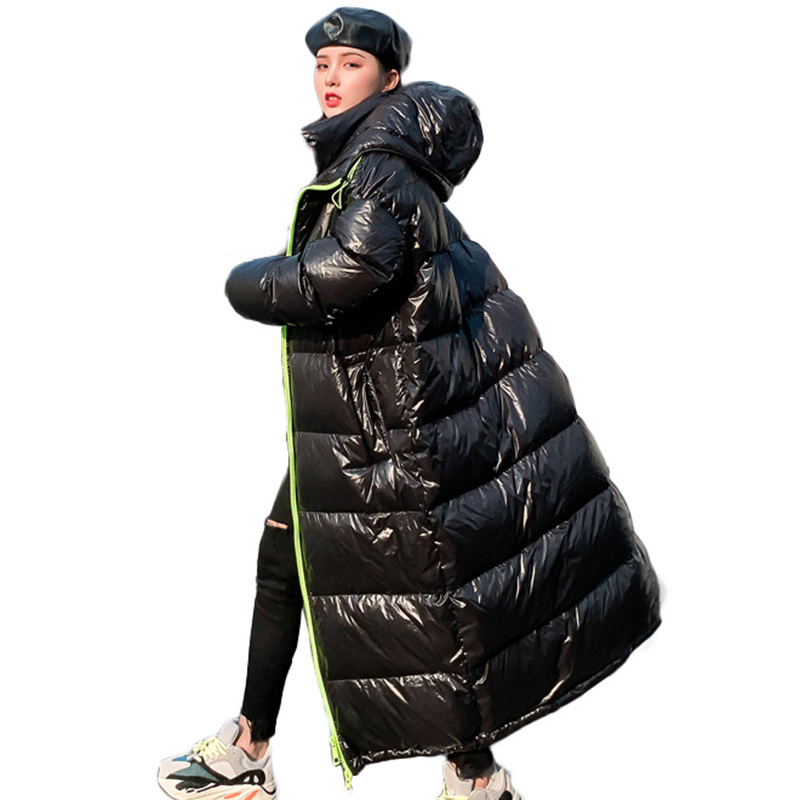 Women Down Jacket Over the knee Long Quilted Coat Glossy Winter Warm Thick Parka Hooded Outwear Female Big Size Cotton-padded