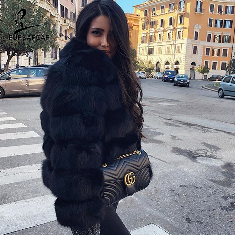 FURSARCAR 2019 Hot Fashion Women Real Natrual Fox Fur Coat For Female Winter With Collor Genuine Fur Overcoat Warm Jackets Girl