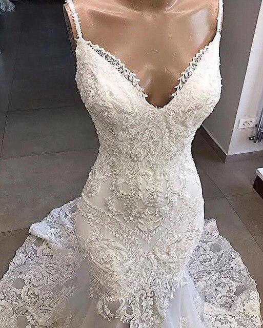 Spaghetti Strap Mermaid Dress Appliques Lace V-Neckline Wedding Dresses With Sweep Train Bridal Gown Formal robes de mariée 2020 2