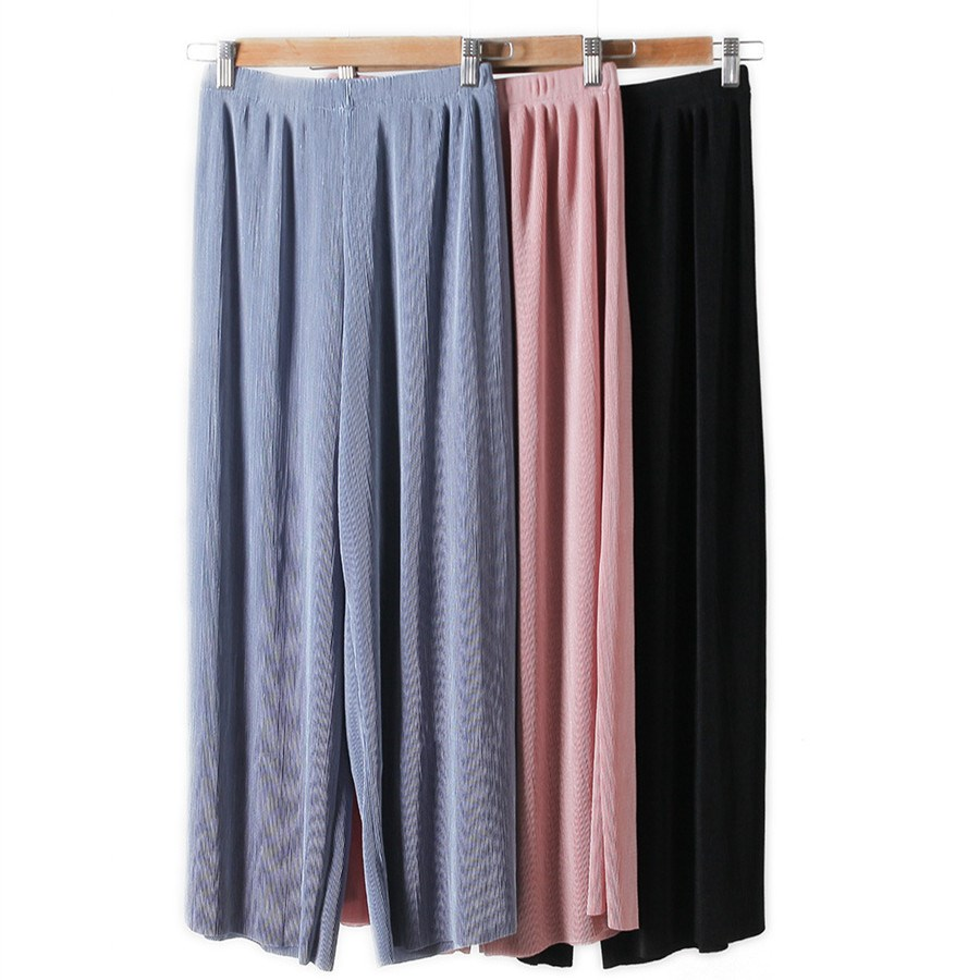 Fashion Women Nice Summer Tide Pleated Wide Leg Pants Elegant High Waist Chiffon Trousers Large Size Loose Points