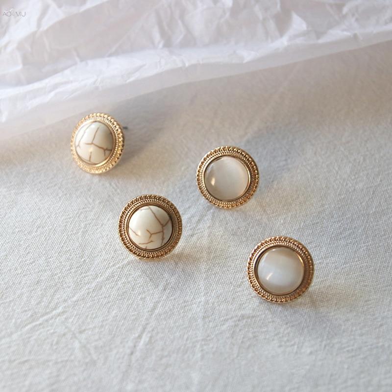 AOMU 2020 Japan New Vintage Round Marble Opal Stone Big Stud Earrings For Women Fashion Imitation Pearl Earrings Brinco