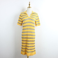 2019 Short Sleeve Knitted Dress Polo Neck Yellow Wave Stripe Matching Loose Size Dress for Women