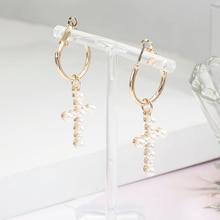 2019 New Pearl Earrings Fashion Cross Pendant Bride Wedding Party Jewelry Bohemian Accessories Wholesale