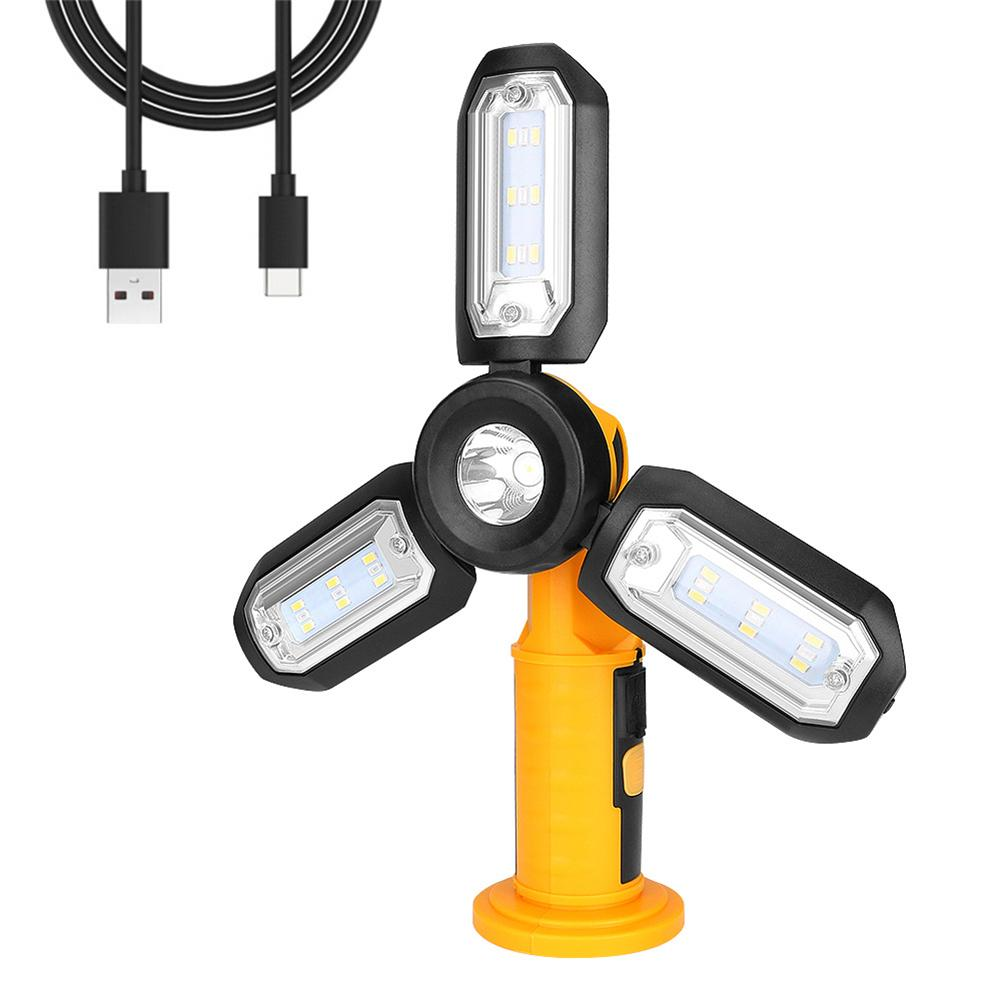 USB LED Work Light 3 Leaf Deformation Folding Lamp With 4 Lighting Modes Outdoors Car Repair Home Emergency Light With Hook