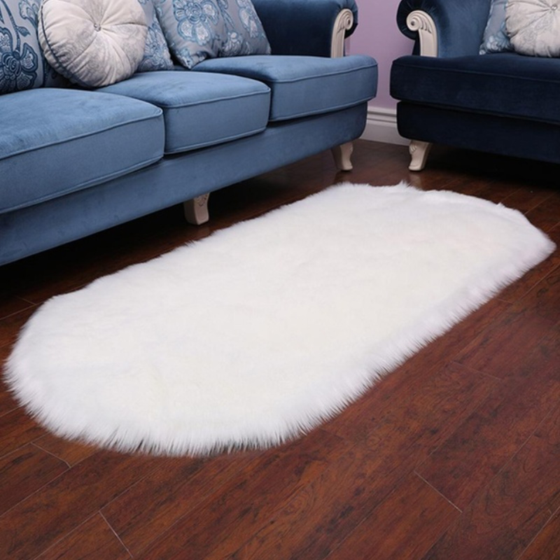 Hairy Floor Mat Oval Artificial Super Soft Imitation Wool Carpet Long Plush Rug Home Decoration Winter Living Room Chairs Sofa