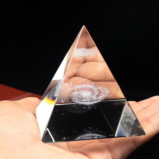 Crystal Pyramid 3D Laser Engraved Galaxy Glass Pyramid Fengshui Figurine Home Decoration Accessories for living room 4