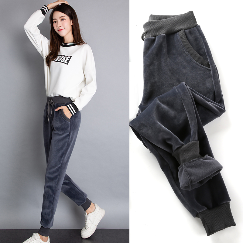 Autumn Winter Plus Velvet Padded Sweatpants Warm Fleece Pants Plus Size Thick Women's Winter Pants Velvet Loose Ladies Pants