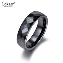 Lokaer Trendy Black & White Cutting Ceramics Rings Jewelry Classic Wedding Engagement Rings For Women Anneaux Anillos R18014