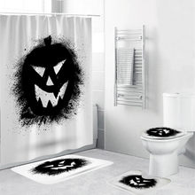 Toilet Seat Cover Halloween Festival Decoration 4PCS Non Slip Toilet Polyester Cover Mat Set Bathroom Curtain Toilet Cover(China)