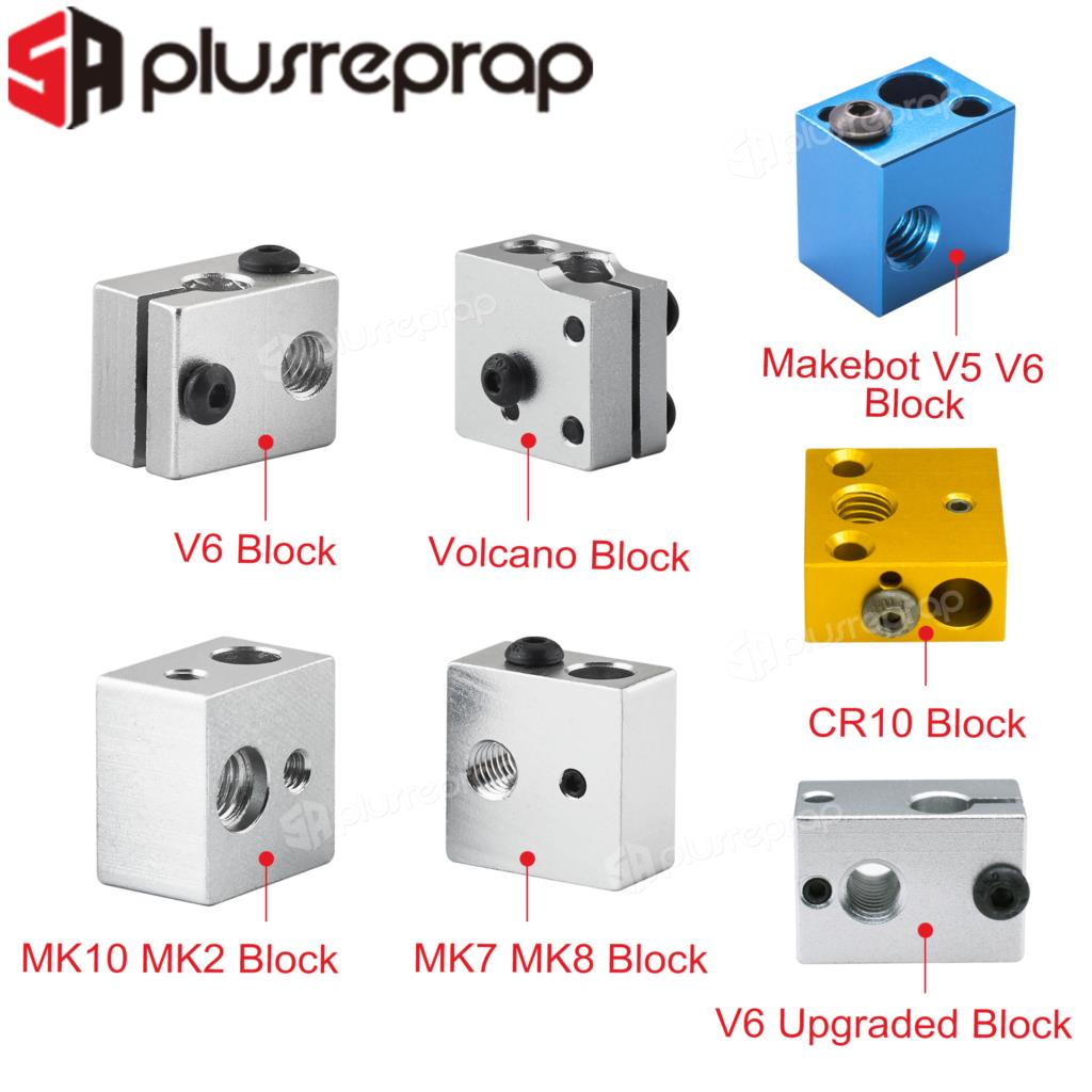 High quality 3D Printer Accessories Heated Block MK7 MK8 MK10 V5 V6 Volcano for Print Head Extruder