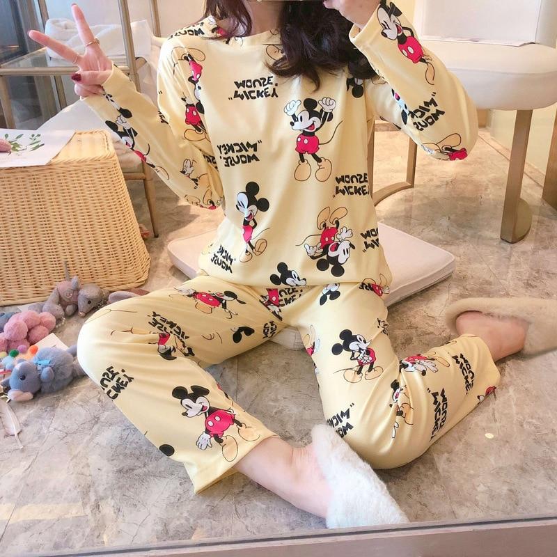 Женские пижамные комплекты в Корейском стиле, зимние пижамы с длинным рукавом и принтом Микки из мультфильма милого размера плюс, домашняя пижама для отдыха|Комплекты пижам|   | АлиЭкспресс