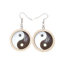 2019 Wooden Wood Time Gem Relligious Tai Chi Yinyang Style Unique Cool Drop Earrings Jewelry Female Antique Mother Lady Mum Young Lass Mom Christmas Gift AL029-036(China)