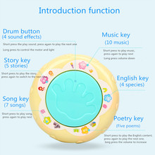 Infant Toys Carousel Musical Hand Drum Beat LED Music Early Educational toys Funny Children Learning Developmental Baby Rattles