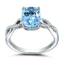 Женская мода 925 стерлингового серебра Морской Кольцо с голубым