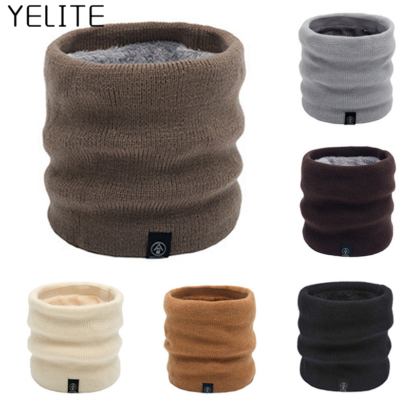 YELITE Women Men Knitted Scarves Autumn Winter Solid Color Warmer Neck Scarf Unisex Thick Ring Scarves Collar Tube For Ladies