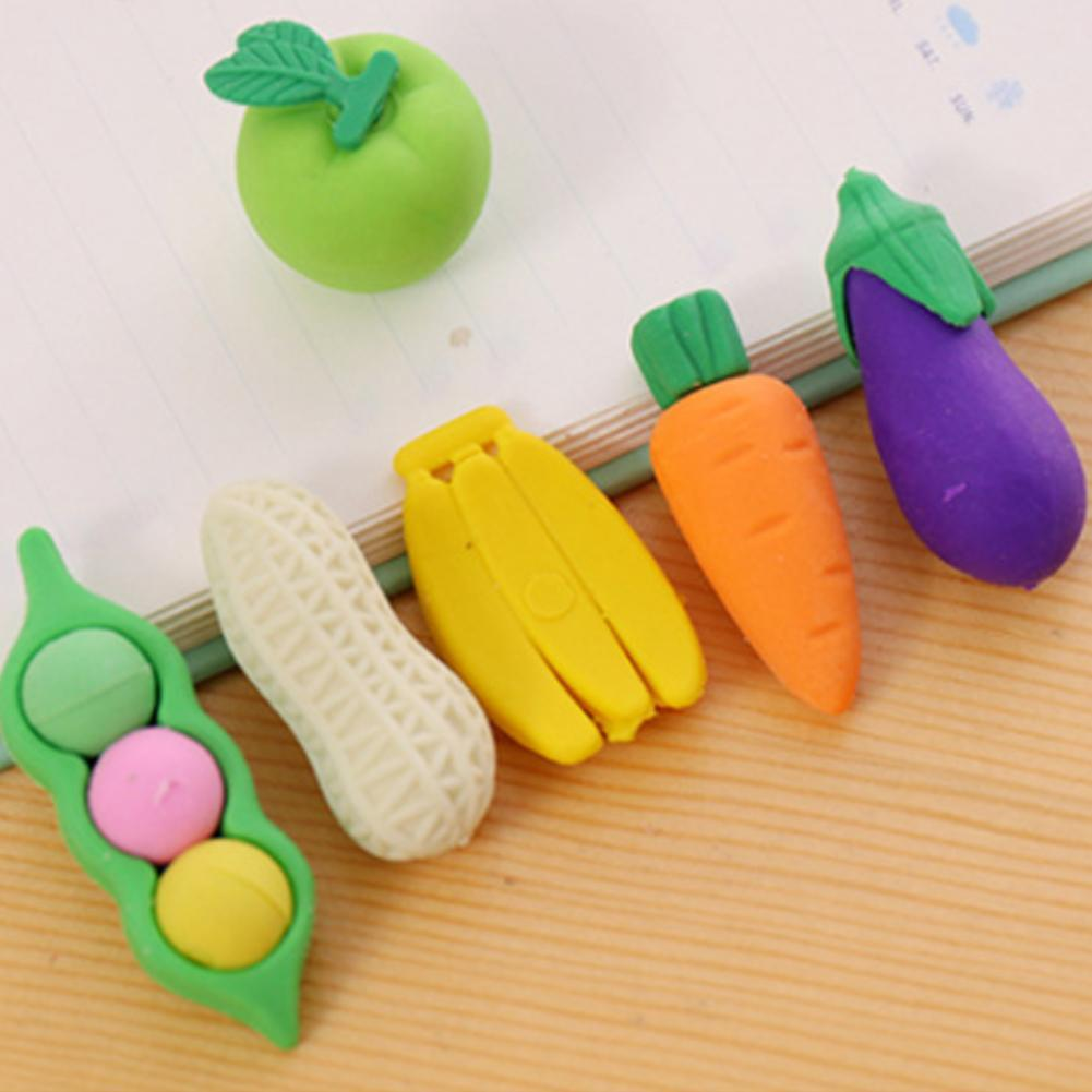 4Pcs/Pack Fruits Novelty Vegetable Carrot Eraser Rubber Stationery With Prizes Eraser Zipper Package Student Gift F6D7