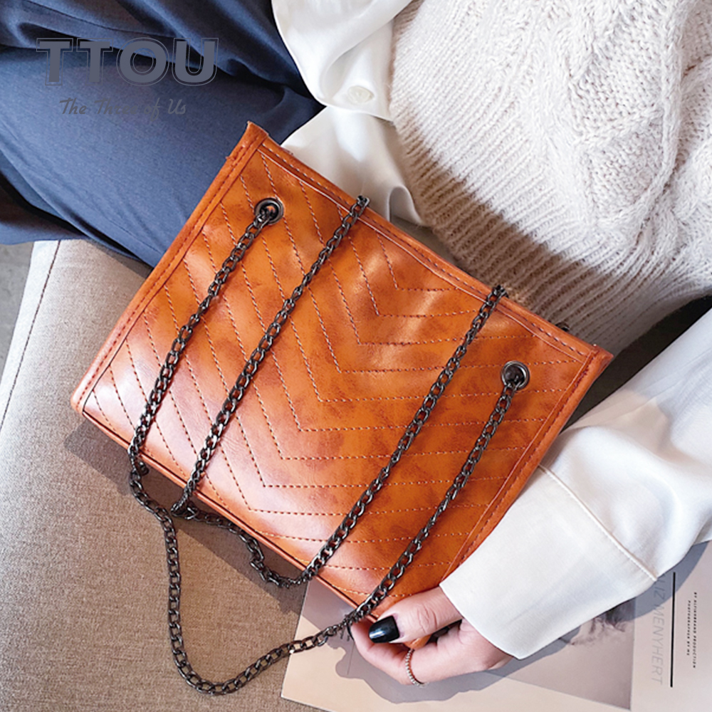 Vintage Quality Leather Handbags For Women 2020 Luxury Women Shoulder Bag Designer Large Capacity Shopping Travel Crossbody Bags