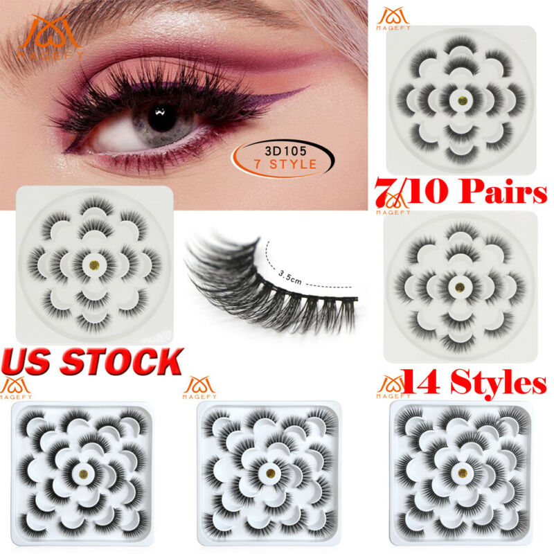 The New False Eyelash 3D Mink False Eyelashes Wispy 7 Pair Beauty Natural False Long Thick Lash Makeup