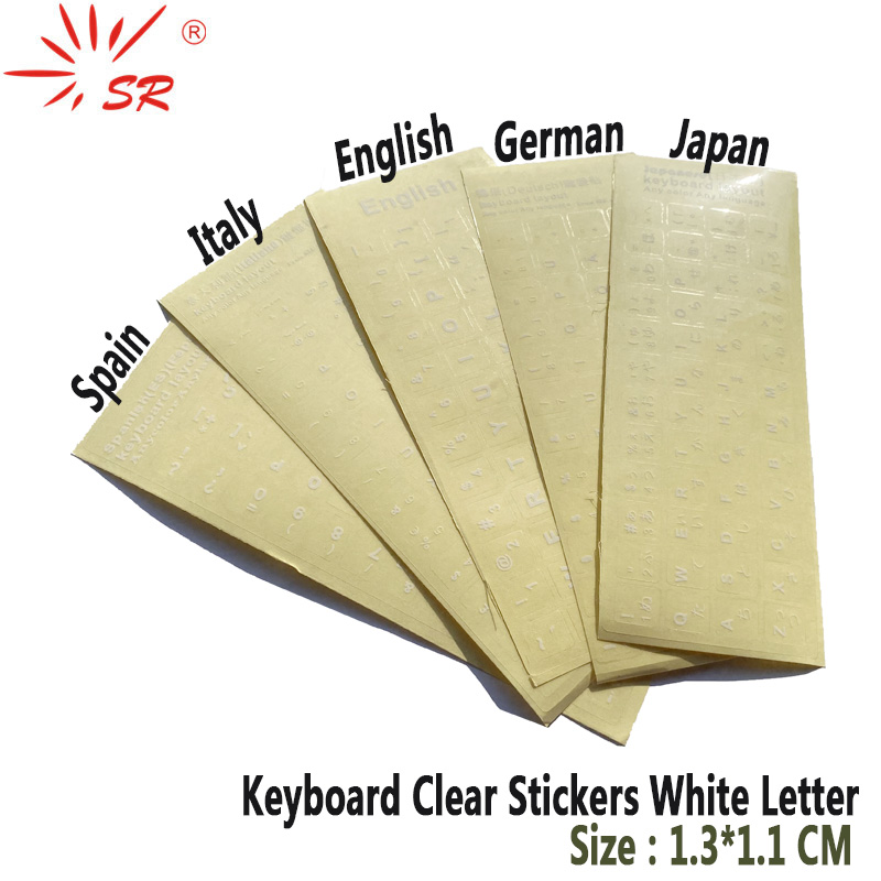SR Clear Smooth Keyboard Stickers Letter 6 Language Russian German Spain Italy English Japan for Computer Laptop Accessories-0
