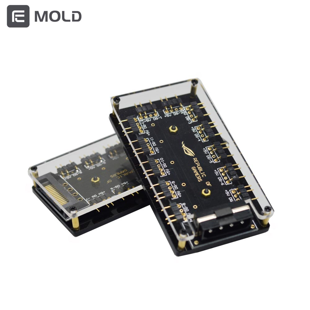 5V 3pin fan light strip AURA motherboard spliter HUB SATA Molex  independly power Supply reduce mainboard burden drop shipping 1