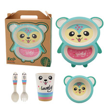 5pcs/set Cartoon Animal Fuwa Baby Tableware Plate Bow Cup Fork Dinnerware Bamboo Fiber Children Container Set