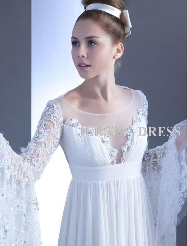 Free Shipping 2016 White Chiffon Long-sleeve High Quality Lace Motifs Waist Maxi Dresses Long Bridal Train Wedding Dresses