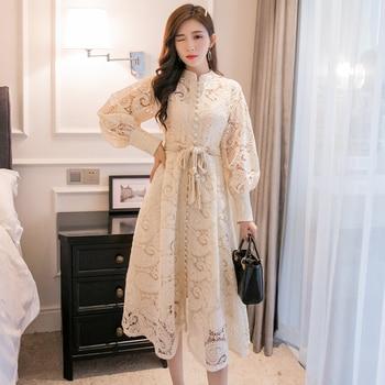 YAMDI midi dress women elegant vintage a-line runway dress new korean party 2020 spring summer woman long sleeve hollow out belt