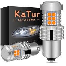 Katur 2pcs Canbus 1156 PY21W BAU15S LED להפוך אות אור נורות בחינם לא Hyper פלאש 20smd 2400 לום ענבר צהוב אדום