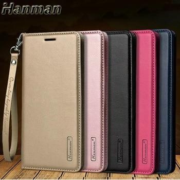 10pcs Hanman Flip Minor Leather Case For LG Q60 K50 Business Hang Rope Series Wallet Card Slot case Cover