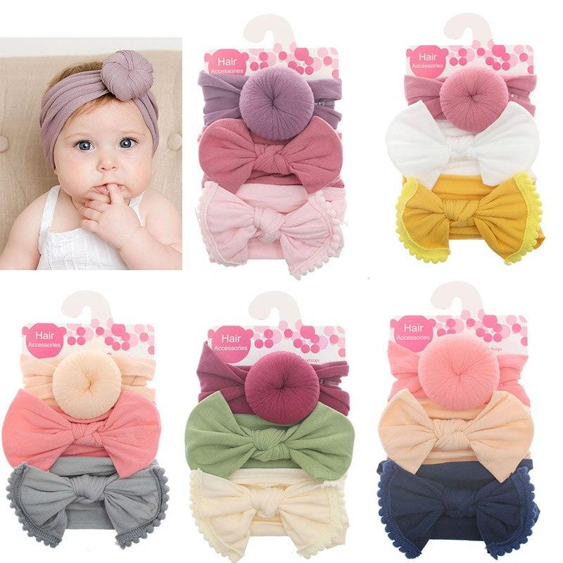 3 unids/set de nailon suave cinta elástica para la cabeza del bebé, lazos anudados para niña recién nacida, diademas para el cabello accesorios para niña, Haarband