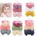3 Teile/satz Einfarbig Weiche Nylon Elastischen Baby Stirnband Bögen Verknotet Neugeborenen Baby Mädchen Stirnbänder Haar Zubehör Mädchen Haarband