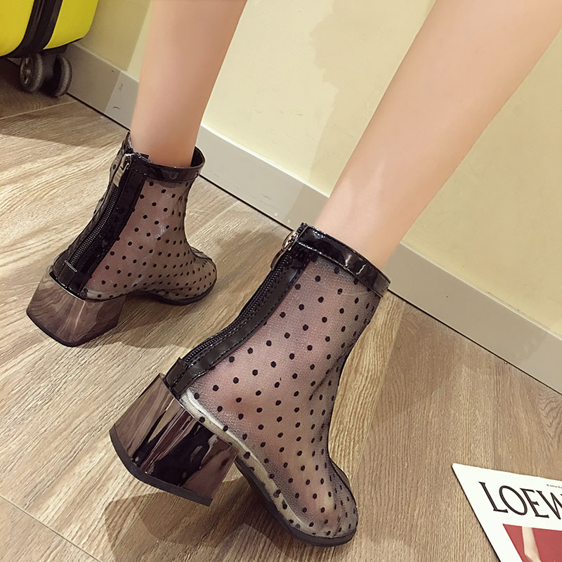 Women's shoes Martin boots 2019 summer sexy mesh openwork breathable thin round head back zipper boots