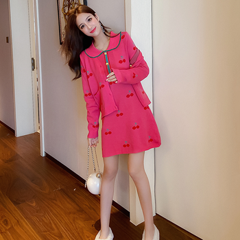 Autumn and winter collar cherry embroidery dress + single-breasted two-piece long-sleeved jacket floral and animal embroidery long sleeved jacket