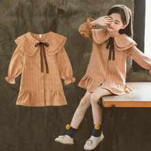 Baby Girls Medium Style Fashion Big Red Bowknot Peter Pan Collar Dress Plaid Dress Petal Sleeve Clothing Cute Mini Dress 4-13Y цена