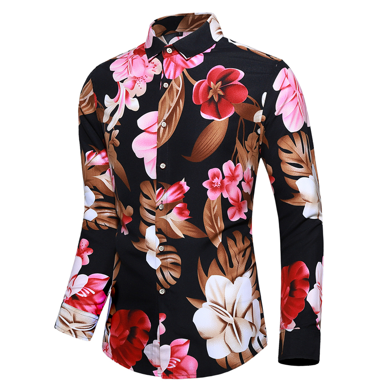 Hawaiian Shirt 2020 New Comfortable Flowers Print Casual Men Dress Shirts Long Sleeve Camisa Masculina Tuxedo Shirts M-7XL