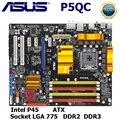 Материнская плата LGA 775 для ASUS P5QC DDR2 DDR3  Системная плата Intel P45 для настольных ПК  PCI-E X16  8-фазный источник питания  б/у