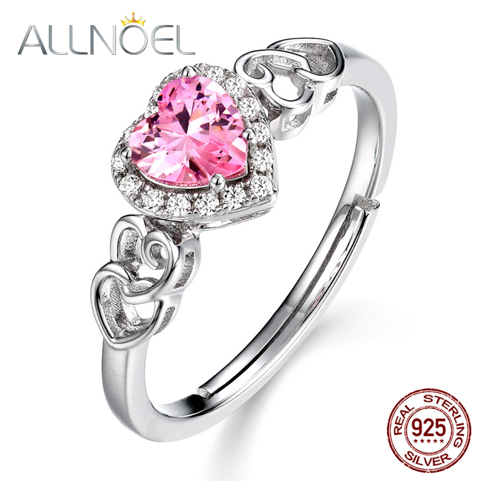 ALLNOEL 925 Sterling Silver Ring For Women 5*5mm Pink Spinel Gemstone White Gold Wedding Engagement Silver 925 Jewelry Luxury