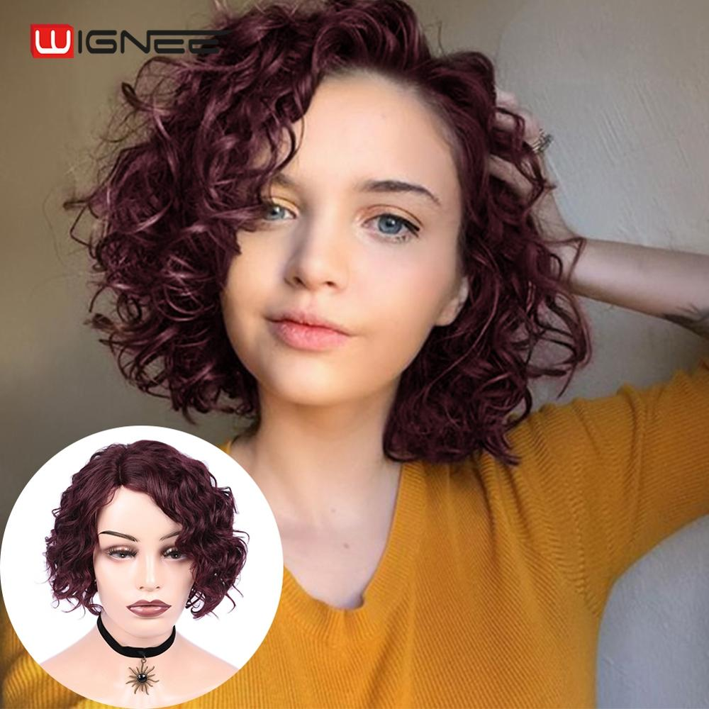 Wignee Afro Curly Short Human Hair Wigs For Black/White Women Lace Part 150% High Density Brazilian Remy Short Curly Human Wigs