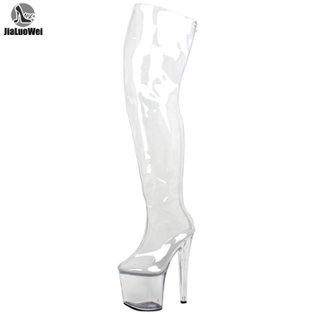 Women 20cm Extreme High Heels +9CM Platform Clear PVC Over-Knee High Boots Sexy Fetish Zip Fashion Show Transparent Crotch Boots sorbern sexy buckle straps women boots 20cm extreme high heels thick platforms woman s summer shoe over knee boots womens 2018
