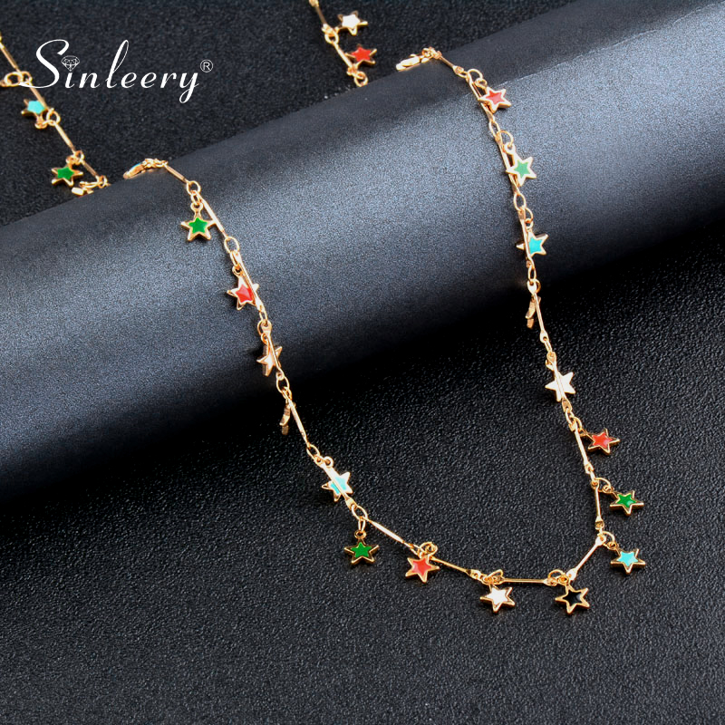 SINLEERY Bohemian Star Sunflower Teardrop Design Necklace Gold Color Red Green Black Enamel Necklace For Women Jewelry XL600 SSA(China)