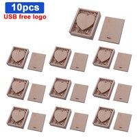 Unidad Flash USB + caja de madera de arce con Logo gratis, 64GB, 32GB, 16GB, 8GB, regalo de boda, 10 unidades por lote